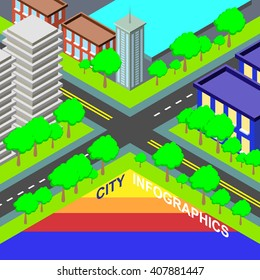 Modern info graphic option banner with colorful isometric city.