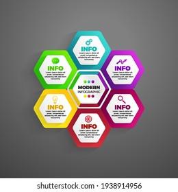 modern infographic 6 element. Modern Hexagon Infographic 6 element vector illustration