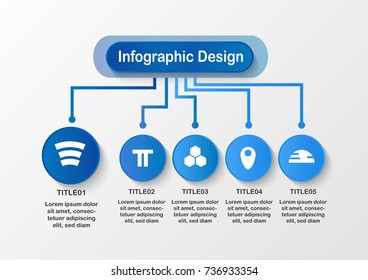 Modern infographic background with copy space for business presentation, template, web design and motion graphic. Blue art idea isolated on grey background.