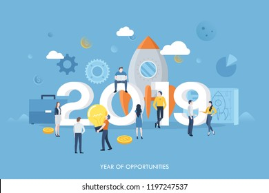 Modern infographic banner with giant 2019 number, tiny people or office workers, space rocket. Year of opportunities for startup launch, start of business project. Vector illustration for website.