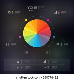 Modern infographic design with color circle can be used for workflow layout, chart, number options, presentation, web design. Eps 10 stock vector illustration