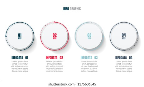 Modern infographic design elements with process line and connection point. Timeline with 4 step, number option. vector illustration.