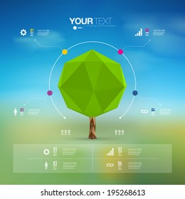 Modern infographic design with origami tree  can be used for workflow layout, chart, number options, presentation, web design.  Eps 10 stock vector illustration