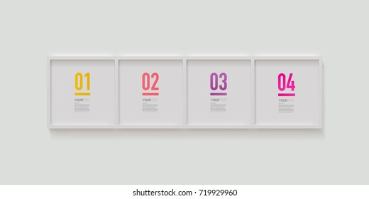 Modern infographic design in realistic picture frames on a wall. Eps 10 stock vector illustration