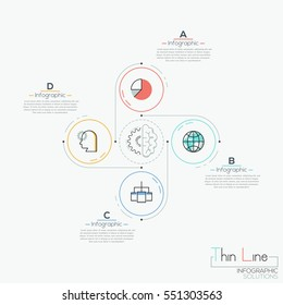 Modern infographic design template, 4 circular elements with pictograms placed around center and text boxes. Steps of brainstorming concept. Vector illustration in thin line style for website, report.