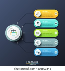 Modern infographic design template with 5 rounded rectangles, main circular element and arrows between them. Features of creative process, business development steps. Vector illustration for report.