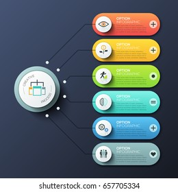 Modern infographic design template with 6 rounded rectangles, main circular element and arrows between them. Features of creative process, business development steps. Vector illustration for report.