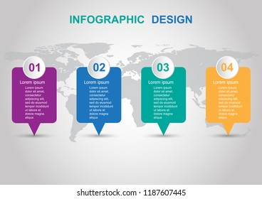 Modern infographic design template with banners. Can be used for business step options.
