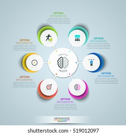 Modern infographic design template: circular flower petal diagram with 6 multicolored elements connected with center. Features of creative process. Vector illustration for website, presentation, ad.
