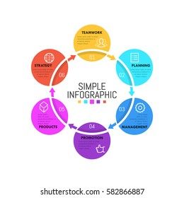 Modern infographic design template. Simple circular diagram with 6 successively connected round elements. Six steps to product release concept. Vector illustration for report, presentation, website.