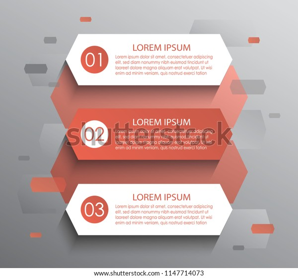 Modern infographic design template. Three numbered multicolored stripes, text boxes and pictograms