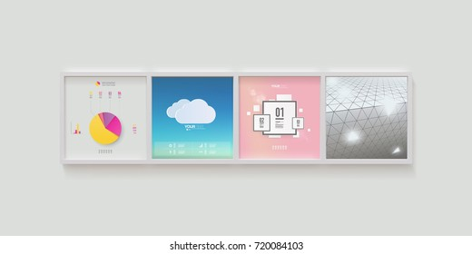 Modern infographic designs in realistic picture frames on a wall. Eps 10 stock vector illustration