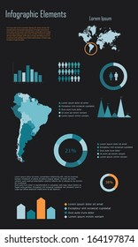 Modern Infographic Elements of South America vector illustration