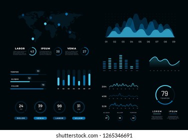 Modern infographic network management data screen. Diagram vector design template of interface, admin panel with graphs, chart diagrams, statistics graphs and finance charts.