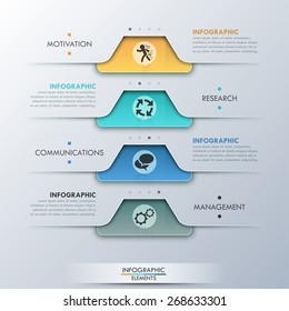 Modern infographic option banner with paper rectangles and textures on grey background. Vector. Can be used for web design and  workflow layout