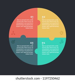 Modern infographic options banner with circle made of 4 puzzle elements. Vector. Can be used for web design and workflow layout