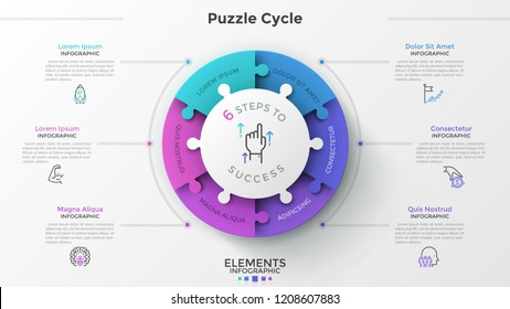 Modern infographic options banner with pie chart divided into 6 puzzle elements. Vector. Can be used for web design and workflow layout