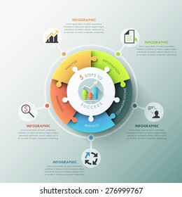 Modern infographic options banner with pie chart divided into 5 puzzle elements. Vector. Can be used for web design and workflow layout