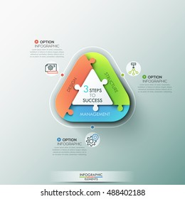 Modern infographic options banner with pie chart rectangle divided into 3 puzzle elements. Vector. Can be used for web design and workflow layout