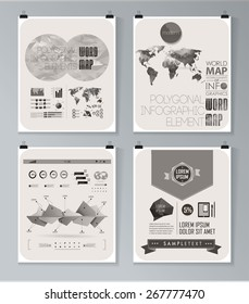 Modern infographic poster. Background and typography vintage elements set