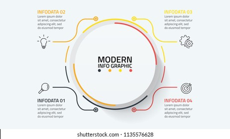Modern infographic template with 4 steps or options, workflow, process diagram, presentation. vector eps10 illustration.