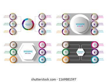 modern infographic template with 6 options step timeline.vector design