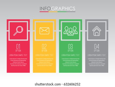 Modern Info-graphic Template for Business with 4 steps Rastafarian Colors design, labels design, Vector info-graphic element, Flat style vector illustration EPS 10.
