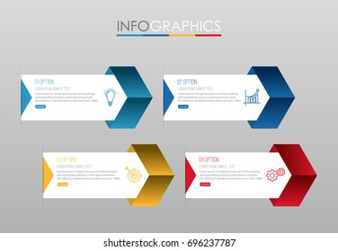 Modern Info-graphic Template for Business with 4 steps multi-Color design, labels design, Vector info-graphic element, Flat style vector illustration EPS 10.