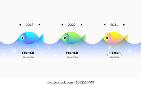 Modern Infographic Timeline Constructor For Fishing Industry. Conceptual Vector Background. Template For Business Presentations.