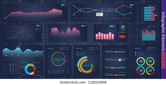 Modern modern infographic vector template with statistics graphs and finance charts. Diagram template and chart graph, graphic information visualization illustration