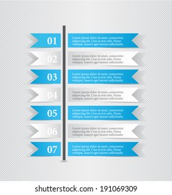 Modern infographic white and blue design template sticker notes vector illustration