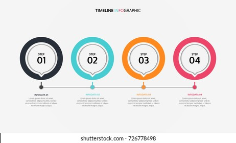 Modern infographics for business . Timeline with 4 steps, circles. Vector linear infographic element.illustration