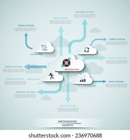 Modern infographics cloud template for 9 options with icons. Vector. Can be used for workflow layout, banner, diagram, web design, infographic template.