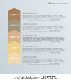 Modern infographics colorful design template with shadow vector illustration. Retro colors