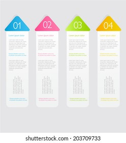 Modern infographics colorful design template with shadow vector illustration.