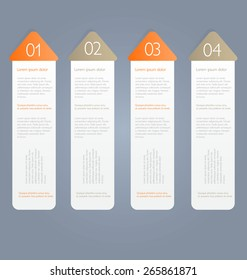 Modern infographics colorful design template with shadow orange color vector illustration