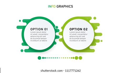 Modern infographics design with circles. Business concept with 2 options, steps or processes. Vector illustration elements for web design.