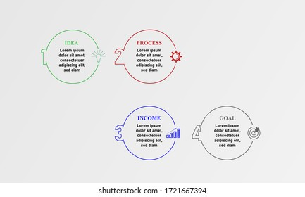 Modern infographics design template with circles and marketing icons.Business concept with 4 options, steps or process.Vector illustration.