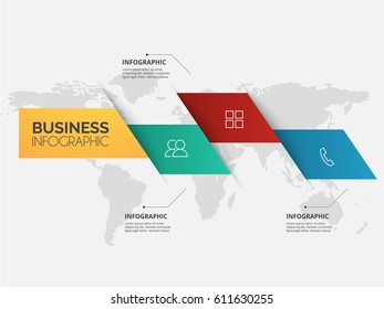 Modern infographics multi color box template with paper sheets, icons for 4 options map background. Vector. ep10