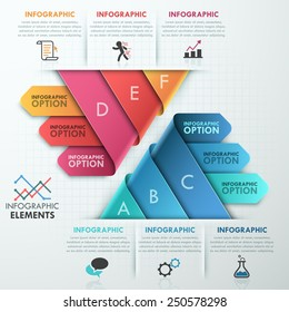 Modern infographics options banner with 2 pyramids made of 6 realistic curved colorful ribbons. Vector. Can be used for web design and  workflow layout