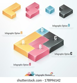 Modern infographics options banner with 3d colorful tetris blocks. Vector. Can be used for web design and  workflow layout