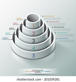 Modern infographics options banner with 3d pyramid for 5 options made of white cylinders. Vector. Can be used for web design and  workflow layout