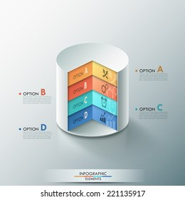 Modern infographics options banner with 3d cylinder for 4 options. Vector. Can be used for web design and  workflow layout