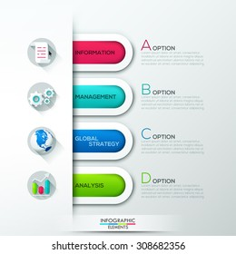 Modern infographics options banner with 4 colorful paper ribbons. Vector. Can be used for web design and  workflow layout