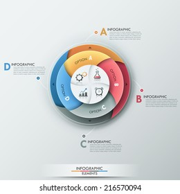 Modern infographics options banner with 4-part pie chart and icons. Vector. Can be used for web design and  workflow layout