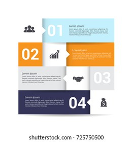 Modern infographics options banner. with 4-part chart and icons. Vector.