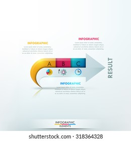 Modern infographics options banner with arrow made of paper pieces for 3 steps. Vector. Can be used for web design and  workflow layout