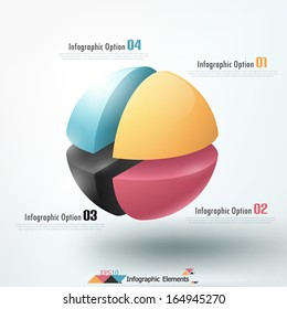 Modern infographics options banner with cropped sphere. Vector. Can be used for web design and  workflow layout