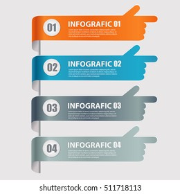 Modern infographics options banner with pointing hand. Vector illustration. Can be used for workflow layout, diagram, number options, web design.