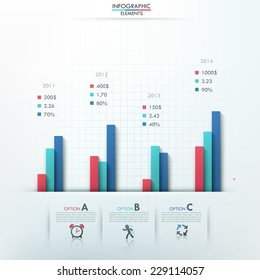 Modern infographics options template with column charts and icons for 3 options. Vector. Can be used for web design and  workflow layout